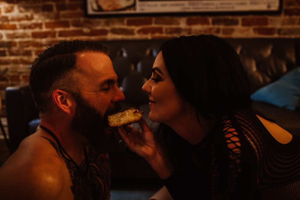 boudoir, couples boudoir, fishnet, colorado, denver, gottahabbit, feed the models, funny boudoir, dudoir, boudoir humor, habit doughnut